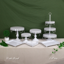 White Crystal Metal Cake Stand Set Cupcake Rack Dessert Display Holder Party Wedding Table Decorations