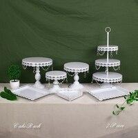 White Crystal Metal Cake Stand Set Cupcake Rack Dessert Display Holder Party Wedding Table Decorations