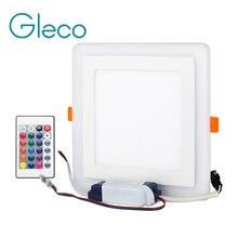 אור פנל LED דק במיוחד צבע כפול RGBWW RGBW עם RGB מרחוק אקריליק צמודי Downlight הוביל מנורת תקרת AC85 265V