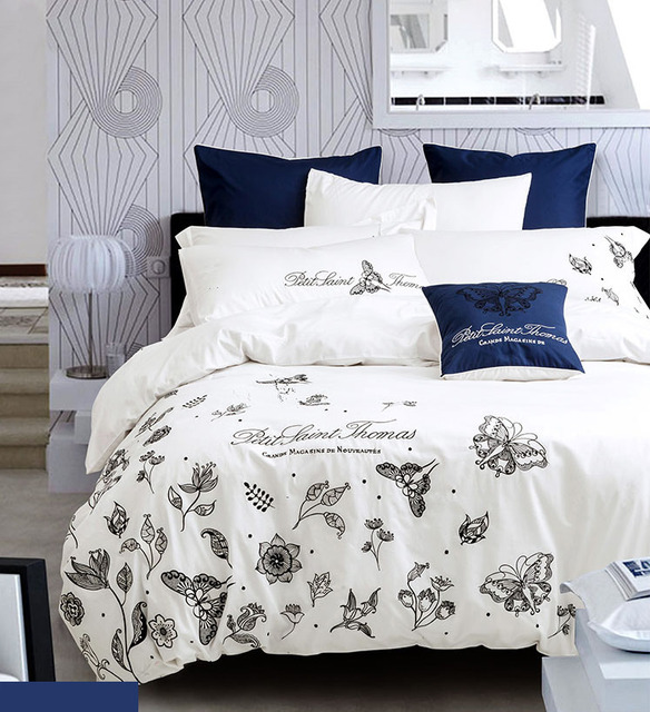 Flowers Plants Insects Embroidery Pure Cotton Fabric Queen King Size 4pcs Bedding Sets Duvet Cover Sheet