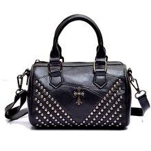 2017 New Europe fashion womens bags Genuine leather Luxury design handbag women Sheepskin messenger bags Rivet Crossbody bag