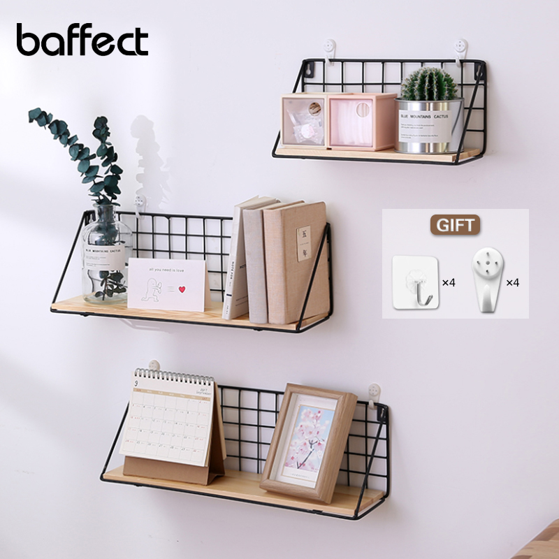 Wooden Iron Wall Shelf Wall Mounted Storage Rack Organization For Bedroom Kitchen Home Decor Kid Room DIY Wall Decoration Holder