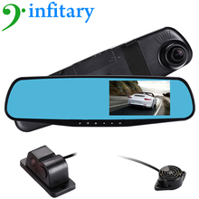 4.3″ inch car dvr rearview mirror auto dvrs dual lens video recorder dash cam full hd 1080P night vision cyclic recording