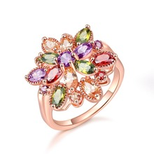 HIP Hop Colored zircon copper ring Personality fashion flower shape For Women Jewelry Dropshiping Couple gift