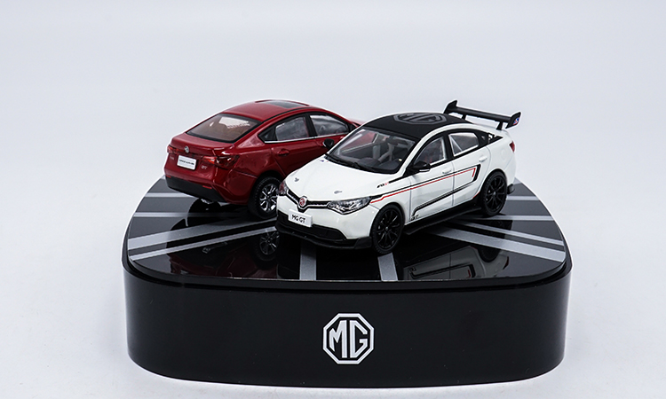 Free Shipping 1:43 Diecast Model for MG GT Red & White (2 pcs) Alloy Toy Car Miniature Collection Gifts 1 18 diecast model for nissan gtr r 35 2008 blue alloy toy car coupe gt r gt r r35