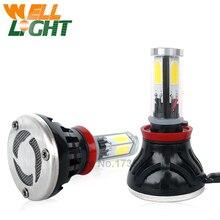 Par LED H11 80 W de Alta Potencia del automóvil Bombillas Led Cabeza DRL Luz de niebla H9 H11 Faro Con la disipación de calor Turbo ventilador