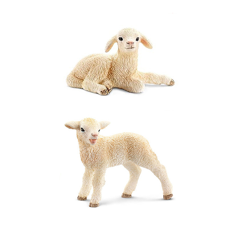 5cm PVC Crouching and Standing Lamb Sheep Models Farm Animal Models Learning Tools Toys Gifts 6pcs simulated farm animal horse sheep