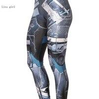 2017 Nouvelles Ventes De Mode Mince D'été Impression Numérique Bleu Machine Sexy Leggings Femme Leggings Haute Qualité Entraînement Pantalon Y149