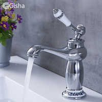 Gisha Bathroom Faucet Single Handle Basin Mixer Tap Deck Mount Waterfall Bathroom Chrome Faucets Cold And Hot Water Taps G1022