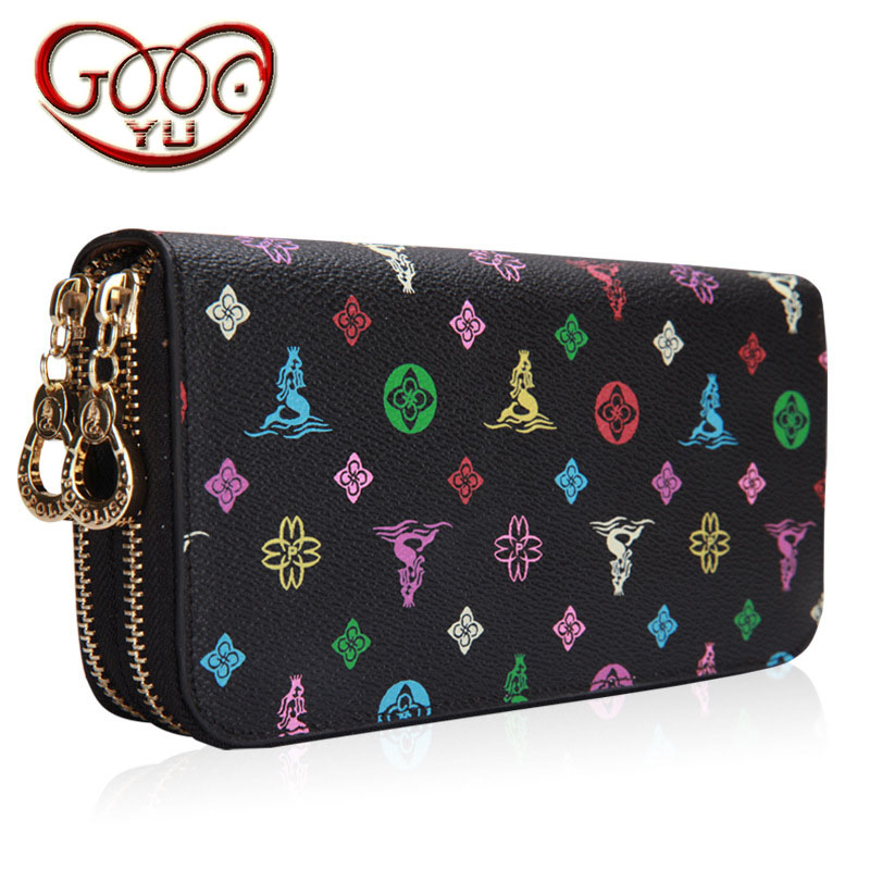 Ladies long double zipper multi-card large-capacity wallet Europe and the United States fashion cow two-layer leather geometric europe and the united states simple geometric pattern hand bag head layer of leather in the long wallet multi card large capacit