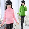 Girls Sweaters 2016 Autumn Winter Thickening Sweaters Children Kids Knitted Pullover Warm Outerwear Turtleneck Sweater For 4-16Y