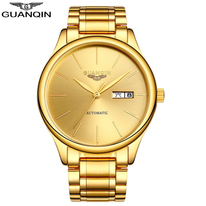 GUANQIN Gold Watch Men Luxury Business Automatic Men Watch Stainless Steel Waterproof Hollow Male Clock Mechanical Wristwatches brand new business watch men hollow engraving black gold case stainless steel watches skeleton mechanical automatic wristwatches