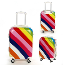 Promotion Women 20 24inch abs pc cute rainbow trolley travel luggage bags sets on 8 universal