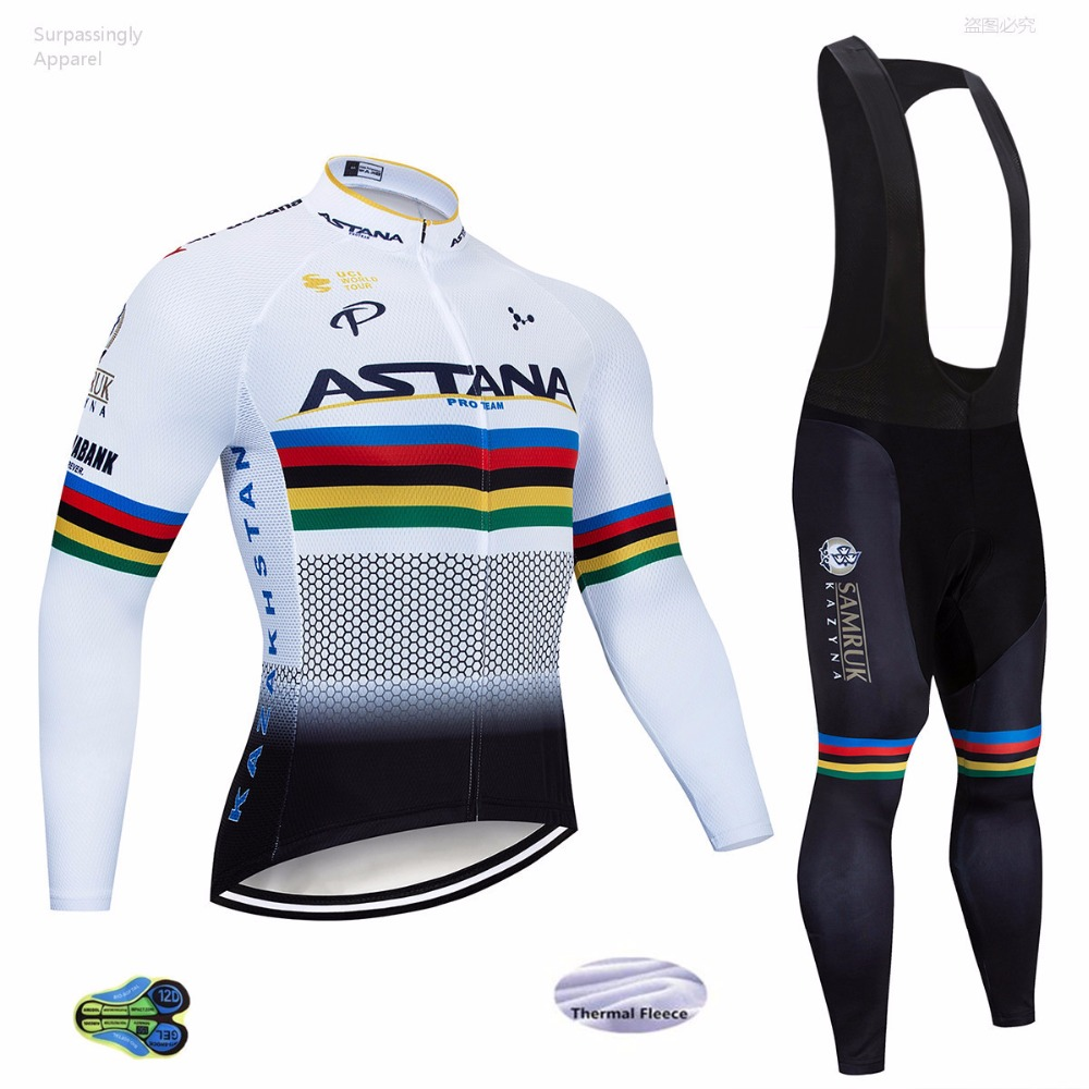 ASTANA hiver hommes cyclisme Jersey ensembles à manches longues Sports de plein air vélo Cycle Jersey vêtements séchage rapide équitation vêtements blanc