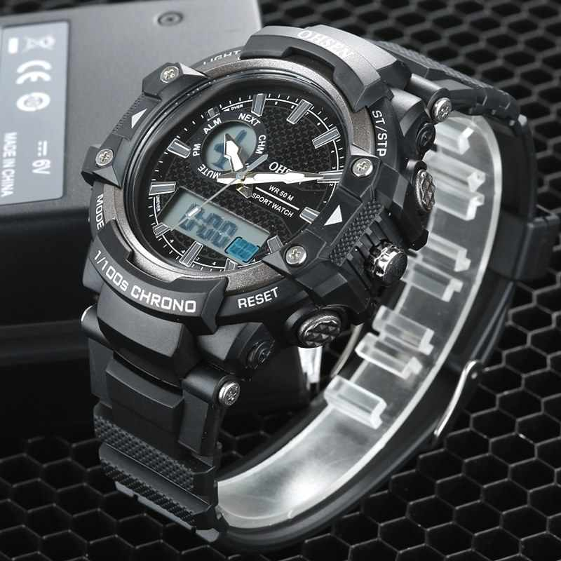 2017 OHSEN LED Dual Core Mens Sports Quartz Watches Alarm Date Day Stopwatch Black Rubber Band Wristwatch Dive Swim Watches