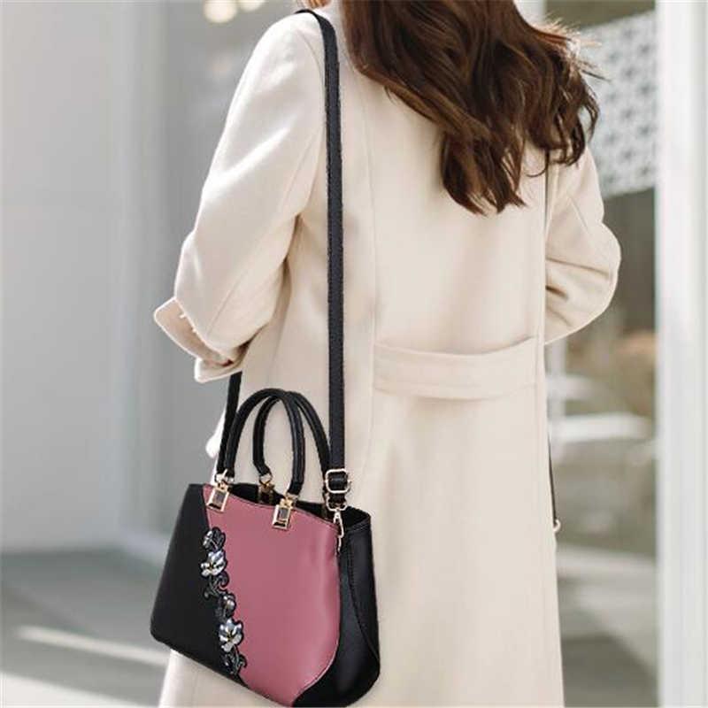 Moda kadın çanta PU deri nakış çanta marka lüks omuzdan askili çanta Hit renk üst kolu el çantaları çiçek askılı çanta