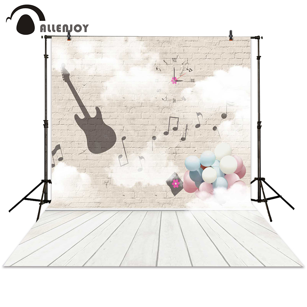 Allenjoy photography backdrop music guita balloon brick wall ground background photocall photographic photo studio newborn