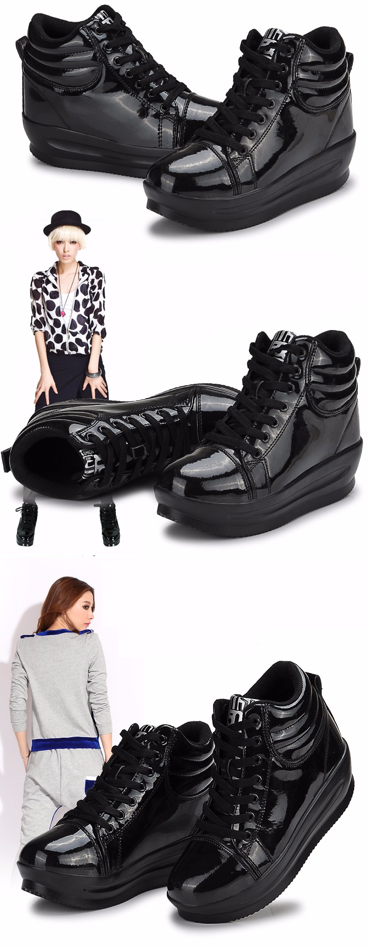 KUYUPP 2016 Fashion Hide Heel Women Casual Shoes Breathable Flat Platform Casual Women Shoes Patent Leather High Top Shoes YD105 (25)