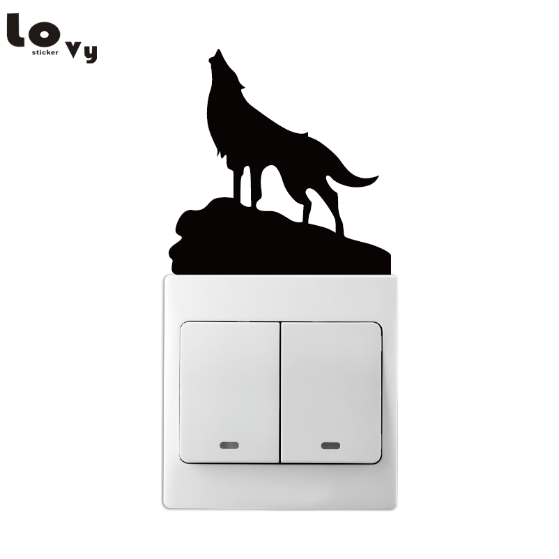 Werewolf Howling at Moon on Cliff Light Switch Sticker Vinyl Wall Stickers for Home Decoration