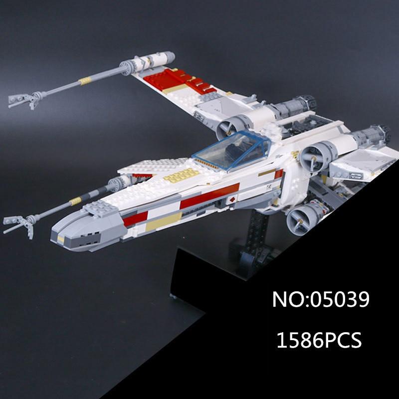 05039 1586 Pcs Star Series War Genuine The X Model Wing Red Five Star fighter Set Building Blocks Bricks Toys