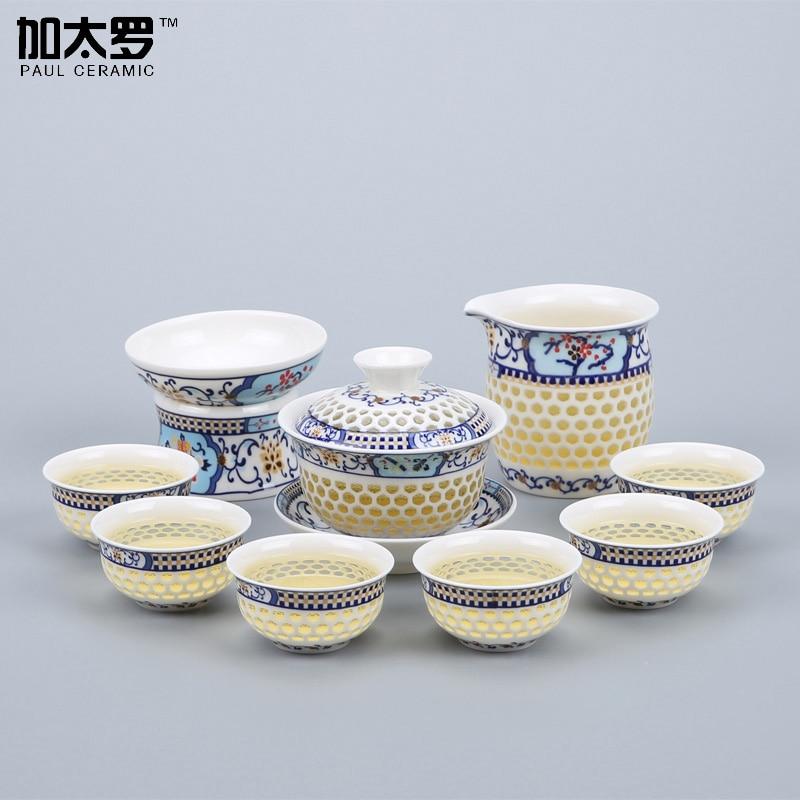 Paul Ceramic Chinese Exquisite Hollow Design Kung Fu Tea <font><b>Set</b></font> <font><b>Floral</b></font> <font><b>Teapot</b></font> Elegant Tea Service Pot witn 6 <font><b>Cups</b></font>, M34