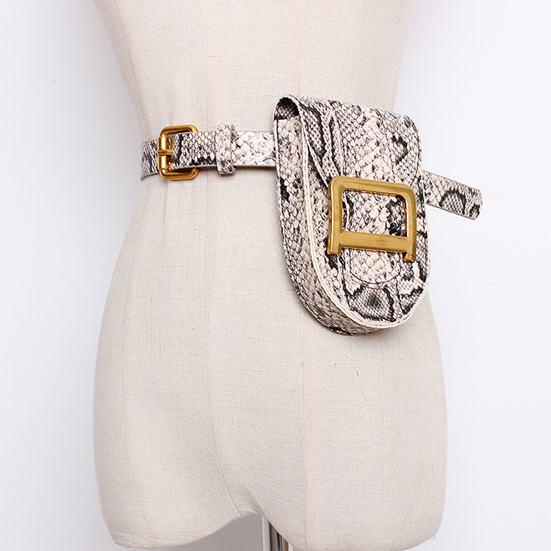 New Fanny Pack Fashion Serpentine Waist Bag Women Leather Waist Pack Vintage Waist Belt Bags Purse Pouch Bum Bag Detachable Belt