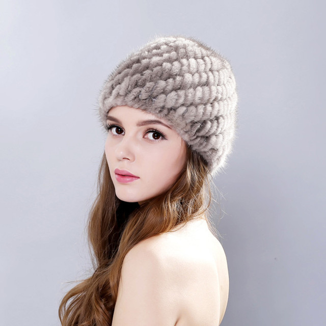 Chapéu de Pele de Vison Real Para As Mulheres Com Pele Real Natural Feminino Cap de Pele De Vison de Malha Tampas Chapéu Abacaxi Orelha Orelhas de Inverno das Mulheres chapéus