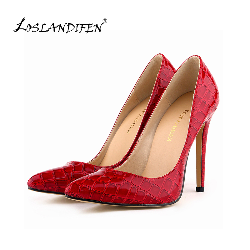 LOSLANDIFEN Classic Sexy Pointed Toe High Heels Women Pumps Shoes Crocodile Spring Brand Wedding Pumps Big Size 35-42 302-1EY sexy pointed toe high heels women pumps shoes new spring brand design ladies wedding shoes summer dress pumps size 35 42 302 1pa