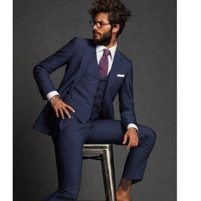 New Arrival Fashion Blue MenTuxedos Notched Lapel Wedding Suits For Men Formal Men Suits Slim Fit 3 Pieces Men(Jacket+Pant+Vest)