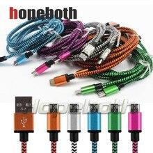 50 adet/grup naylon örgülü tip C USB kablosu 1m/2m/3m veri Sync mikro USB şarj kablosu Samsung Huawei Xiaomi için 8Pin telefon kabloları