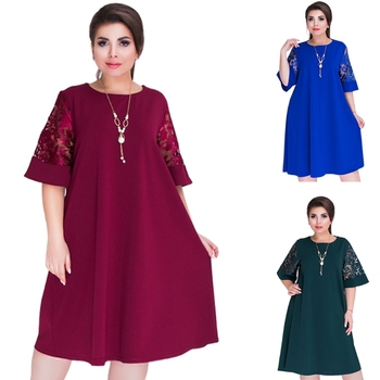 Summer Splice Loose Lace Dresses Plus Size Women Knee-Length Office Dress S M L XL 2XL 3XL 4XL 5XL