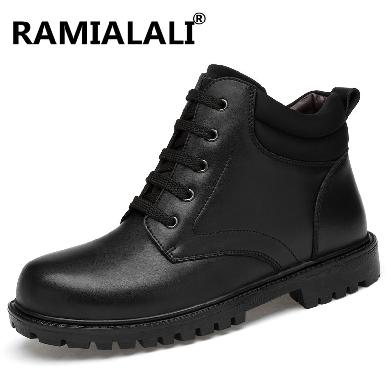 Genuine Leather Boots Luxury Designers Man Snow Boots High Top Warm Shoes Men Winter Big Size
