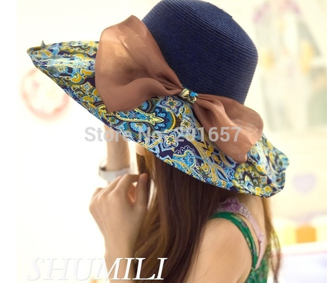 2015 Fashion Women Wide Large Brim vintage floral fabric silky bow bohemian Summer Beach Sun Hat Cap Free Shipping