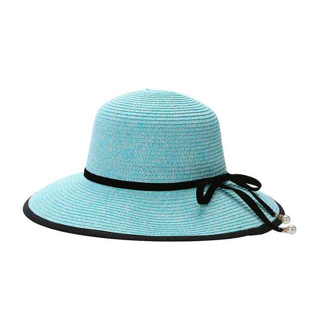 New Summer Large Brim Straw Hat Round Top Pearl Pendant Wide Sun Hat UV  Protect Big d6ed0d3b1be