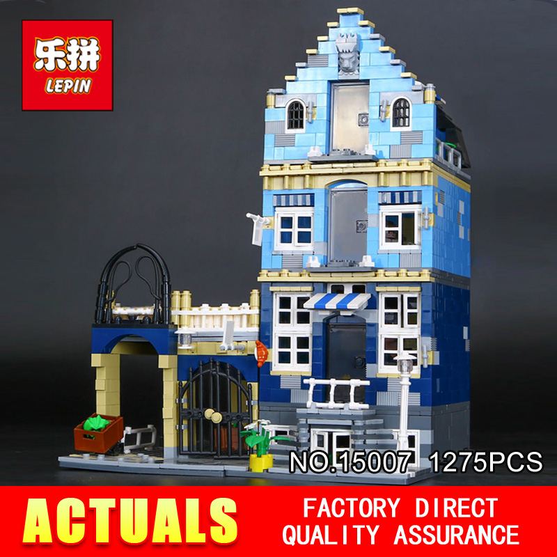 Lepin 15007 Factory City Street European Market Model Building Block Set Bricks Kits DIY Compatible 10190 Educational child toys lepin 16002 modular pirate ship metal beard s sea cow building block set bricks kits set toys compatible 70810