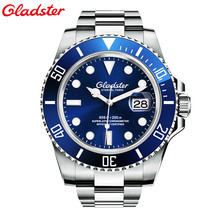 Gladster Mens Watches waterproof Luxury Diver 200M seel Luminous Sapphire Glass Automatic Mechanical Watch relogio masculino