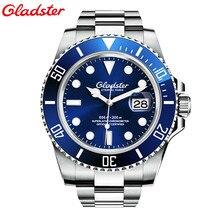 Nova Gladster Mens Relógios Top Marca de Luxo Diver 200 M Super Luminosa Vidro de Safira Mecânico Automático Assista relogio masculino