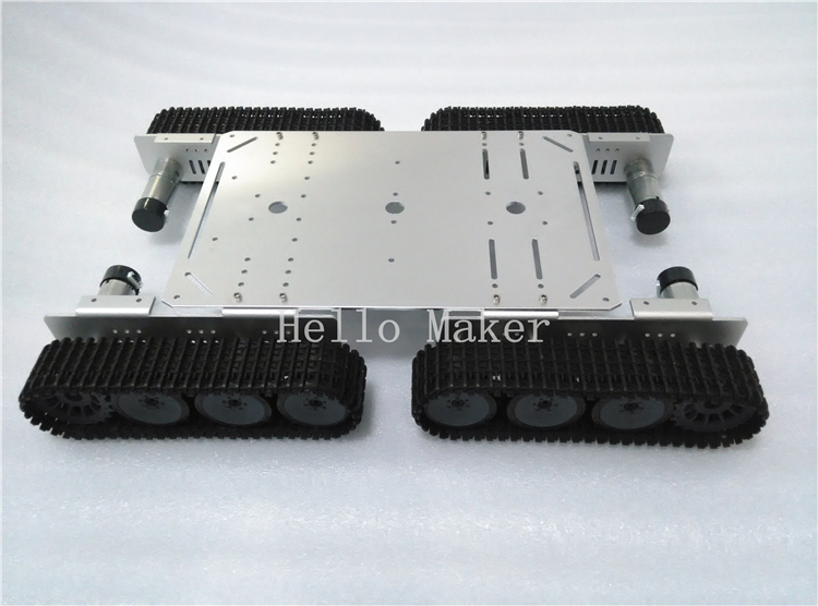 Hello Maker T500P Silver Alloy DIY Tank Chassis With 4 Motors Robbot Chassis unbrand diy sushi maker