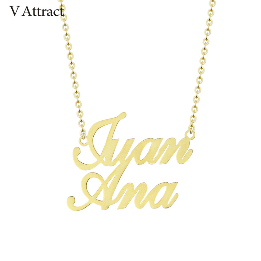 V Attract Stainless Steel Custom Two Names Necklace Personalized Jewelry Multiple Name Choker Friendship Gift Fashion Gold Kolye