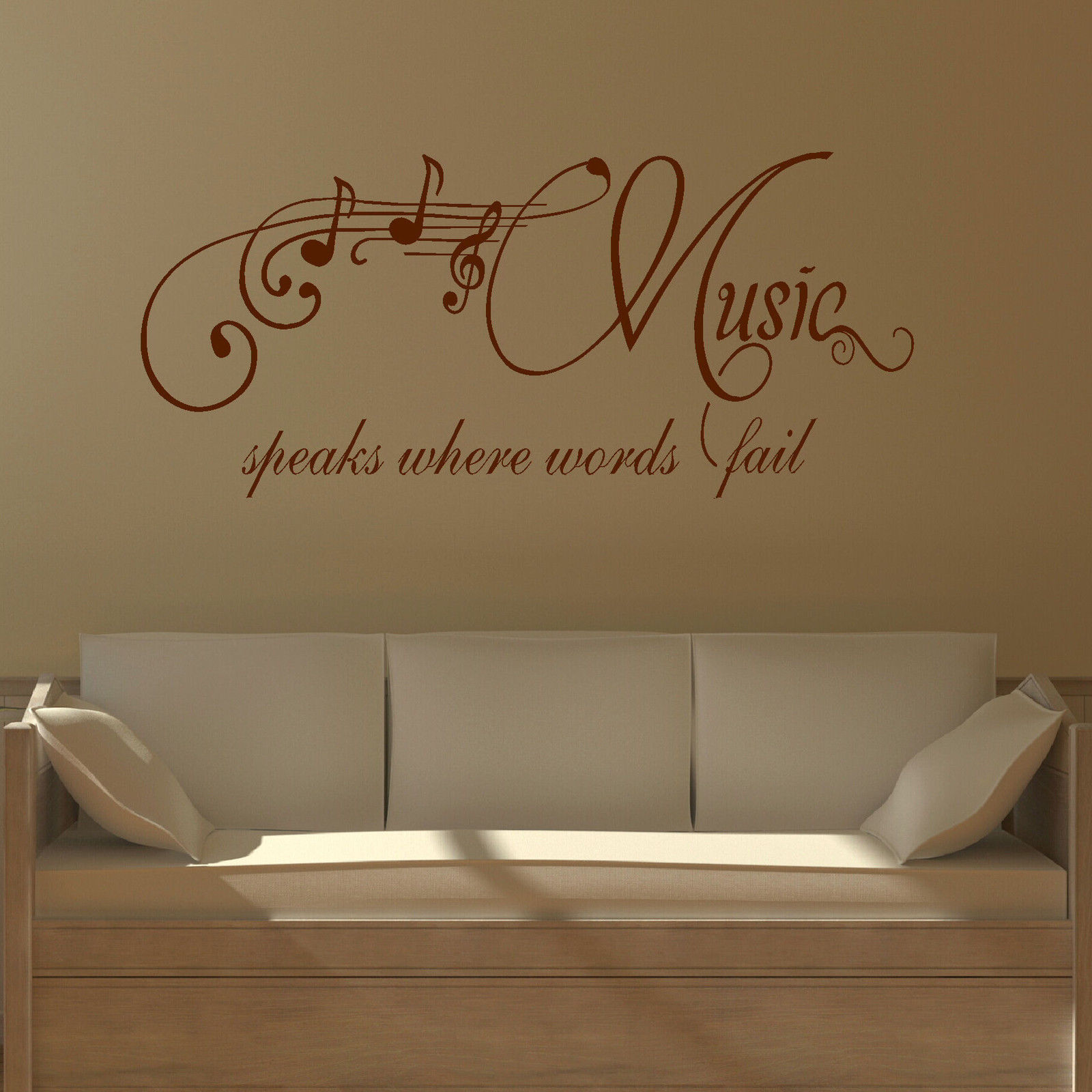 Large Wall Quote Music Speaks Where Words Fail Sticker Stencil Decal Modern Decal