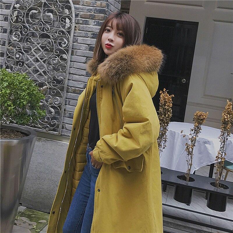 H.SA Fashion Winter Warm Coat Hooded   Parkas   With Real Fur Collar Winter Thickness Coats Long Sleeve Warm Ladies Jackets   Parkas