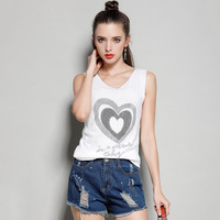 2018 New Style Spring And Summer V Neck Diamante Starry Embroidered Flares Patchwork Sleeveless Vest Fashion