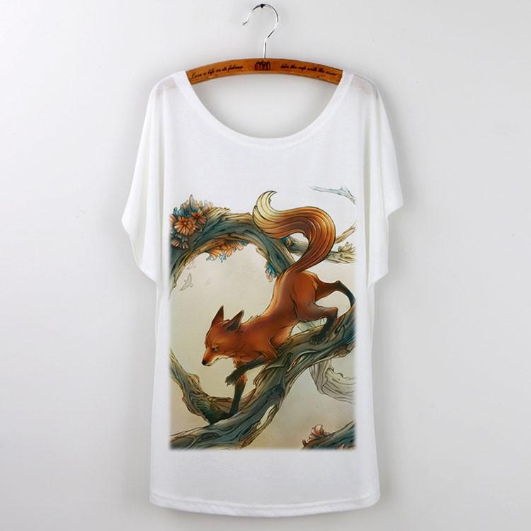 HTB11eJzJVXXXXXgXVXXq6xXFXXXk - Cute Fox Short Sleeve White T Shirt Camiseta Feminina Tee