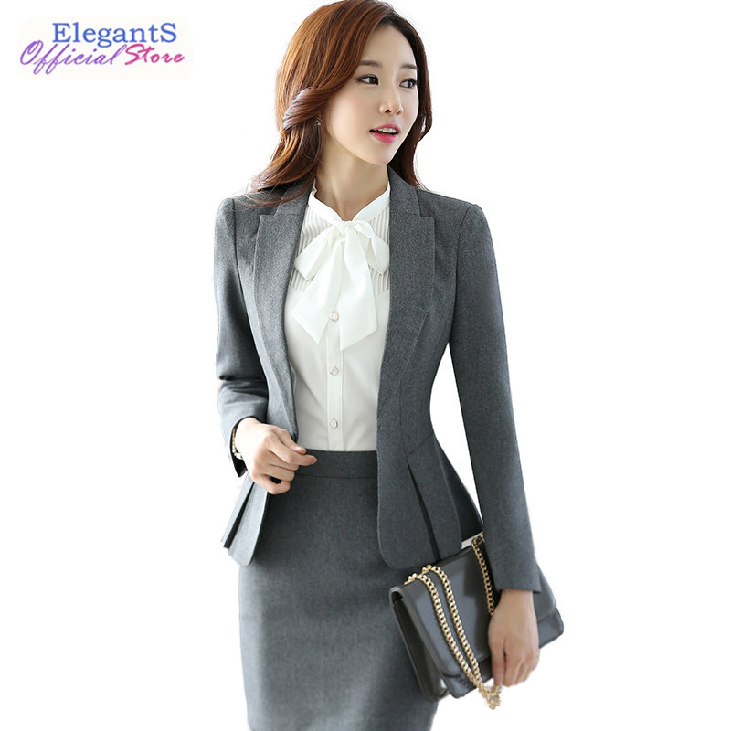 Women 2 Piece Set Skirt Blazer Office Lady Skirt Suit Lady Uniform Female Business Work Outfits Jacket Suits Workwear Spring