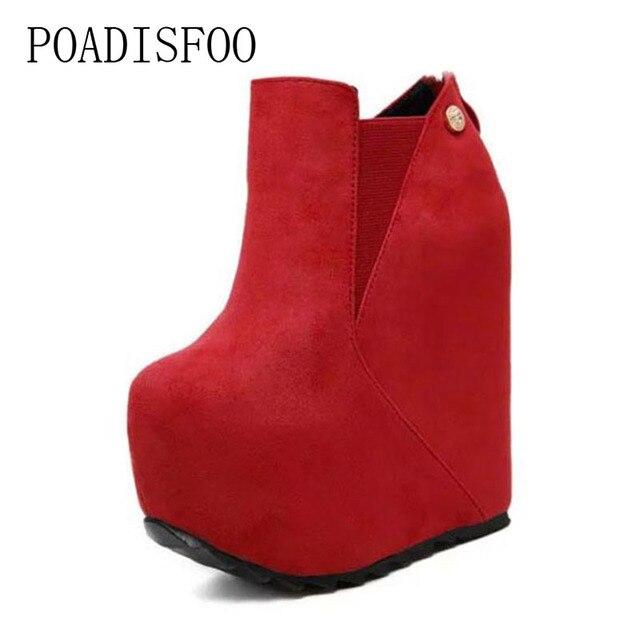POADISFOO frauen Super Hohe Keil Plattform Rote Stiefel Martin Stiefeletten frauen 16 cm High Heel Stiefel Römischen stiefel. JXQ-T555