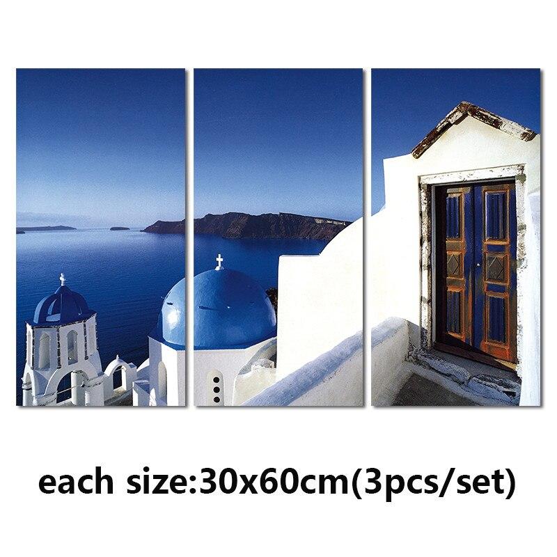 Azul moderno 3 unids paisaje griego playa decoración salón lienzo ...