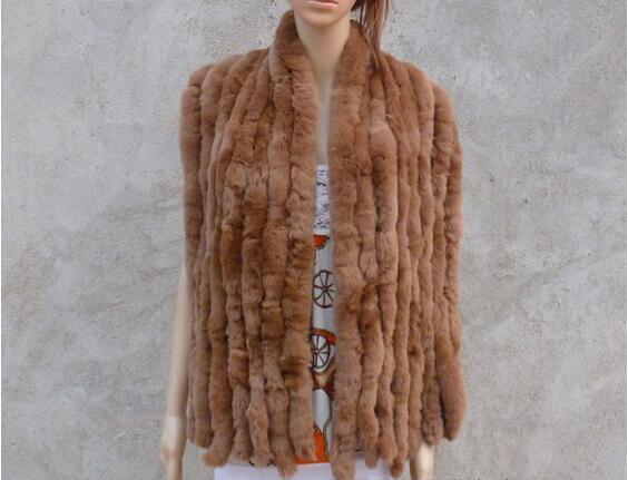 Настоящий вязаный шарф из меха кролика рекс женский зимний теплый натуральный мех шаль FP574