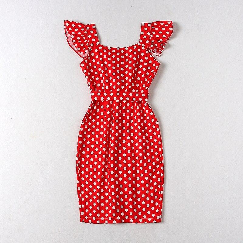 ALPHALMODA 18 New Polka Dot Shirt Pocket Dress Petal Sleeve Single Breasted Slim Sashes Women Fashion Summer Vestidos 13