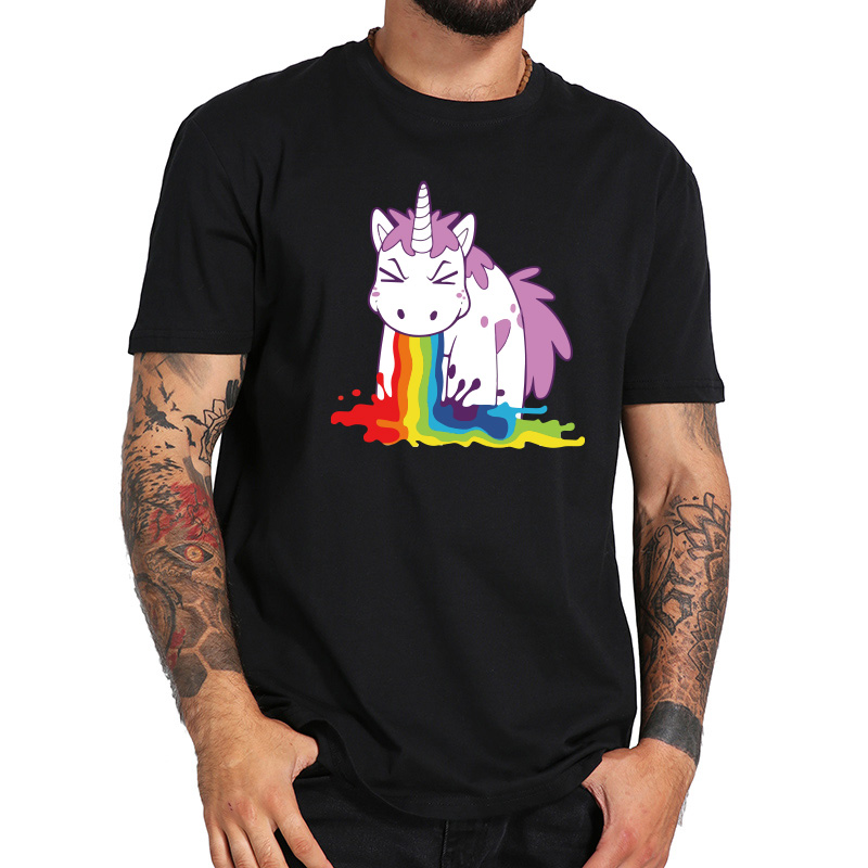 Unicorn   T     Shirt   Rainbow Funny Spoof High Quality 100% Cotton White Black Tops Cartoon   T  -  shirt   Gift EU Size