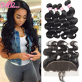 Ear to Ear Lace Frontal Closure With Bundles Peerless Virgin Human Hair 4 bundles Brazilian Body Wave With Lace Frontal Closure